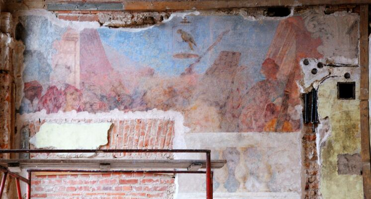 Sapiegu rumai freska muzikantai papuga