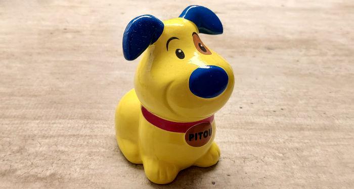 Geltona keramikinė šuniuko figūrėlė