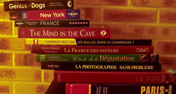 Knygos - geriausia dovana. Knygos, sudėtos laiptukais, nugarėlėmis į priekį.